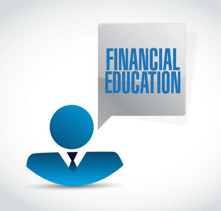 financial education: financial education avatar message sign concept illustration design graphic