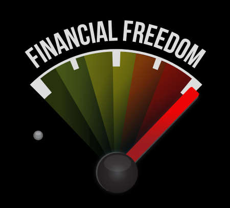 financial freedom: financial freedom meter sign concept illustration design graphic