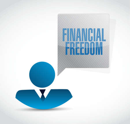 financial freedom: financial freedom people message sign concept illustration design graphic