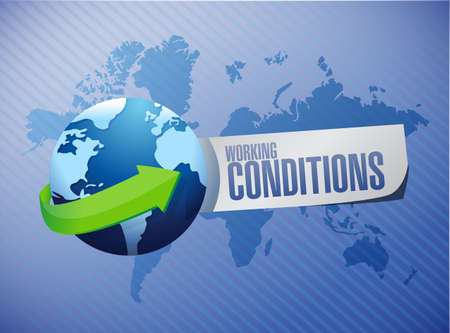 globe illustration: working conditions around the globe sign concept illustration design graphic