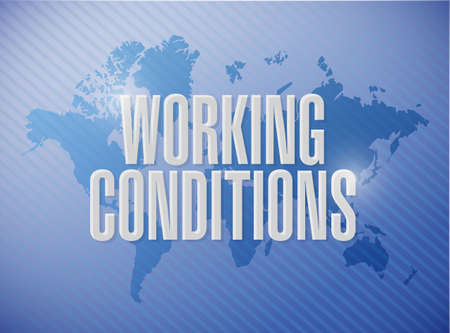 flexible business: working conditions world map sign concept illustration design graphic