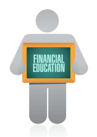 financial education: financial education board sign concept illustration design graphic