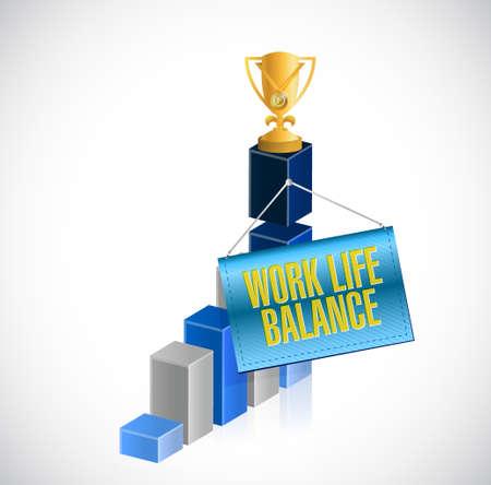 work life: work life balance business graph sign concept illustration design Illustration