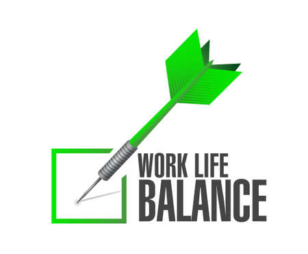 business life: work life balance check dart sign concept illustration design