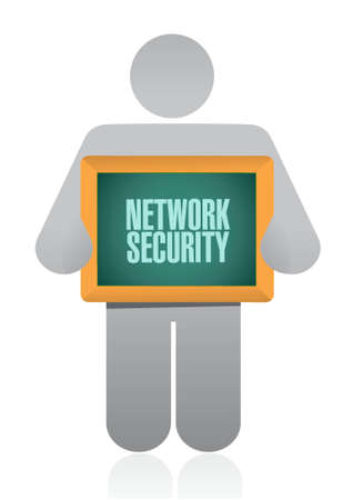 up code: network security avatar holding sign concept illustration design graphic Illustration