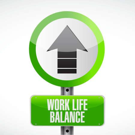 life balance: work life balance up road sign concept illustration design Illustration