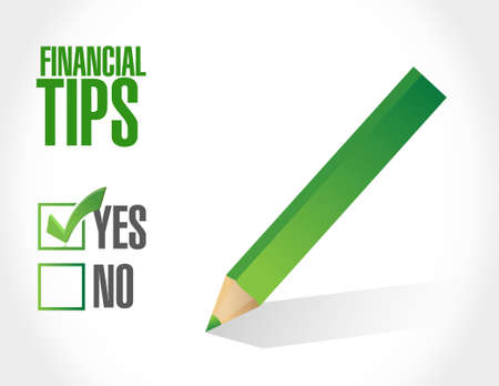 financial advice: financial tips approval sign concept illustration design graphic
