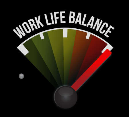 work life balance meter sign concept illustration design Çizim
