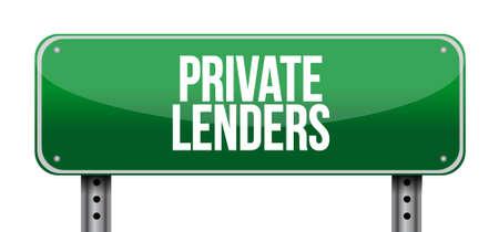 lenders: private lenders street road sign concept illustration design graphic