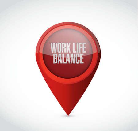 life balance: work life balance locator sign concept illustration design