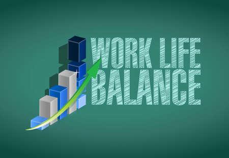 life balance: work life balance board graph sign concept illustration design Illustration