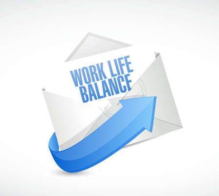 life balance: work life balance mail sign concept illustration design