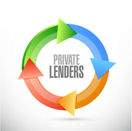 lenders: private lenders color cycle sign concept illustration design graphic Illustration