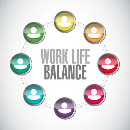 thinking link: work life balance connections sign concept illustration design