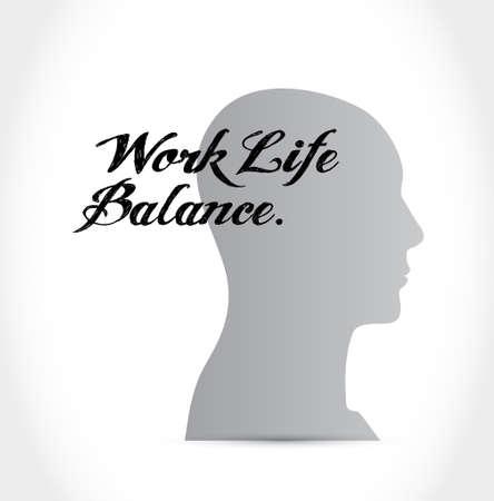 work life: work life balance mind sign concept illustration design Illustration