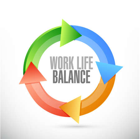 color balance: work life balance color cycle sign concept illustration design