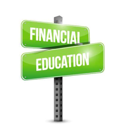 financial education road sign concept illustration design graphic
