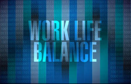 work at home: work life balance binary background sign concept illustration design