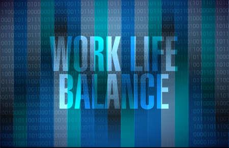 life balance: work life balance binary background sign concept illustration design
