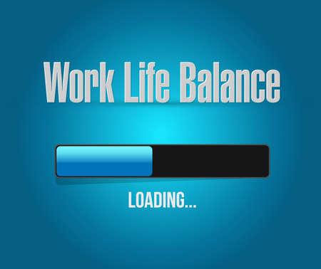 work life: work life balance loading bar sign concept illustration design