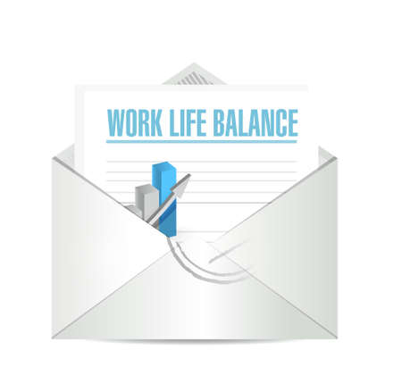work life: work life balance mail graph sign concept illustration design