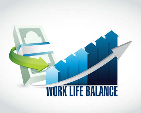 work life balance money graph sign concept illustration design