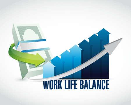 life balance: work life balance money graph sign concept illustration design