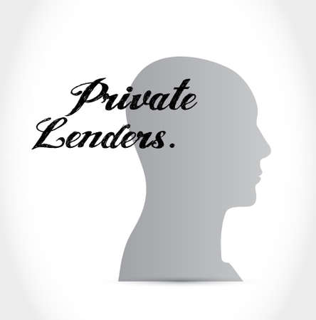 lenders: private lenders head mind sign concept illustration design graphic Illustration
