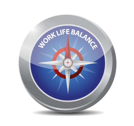work life balance compass sign concept illustration design Çizim