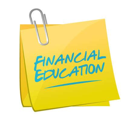 financial education: financial education memo post sign concept illustration design graphic Illustration