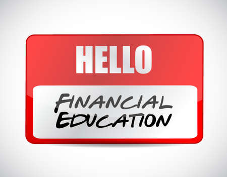financial education name tag sign concept illustration design graphic Illustration