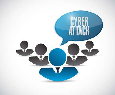 cyber attack: cyber attack teamwork sign concept illustration design graphic Illustration