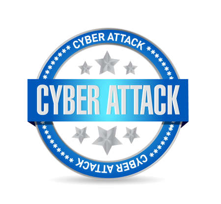cyber attack: cyber attack seal sign concept illustration design graphic Illustration