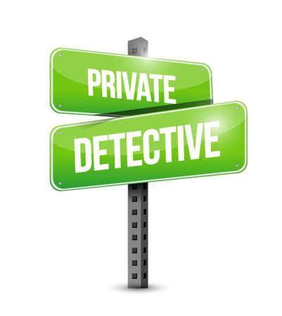 spotter: private detective road sign concept illustration design graphic
