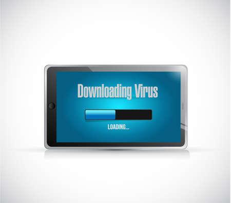 downloading: downloading virus on a tablet. illustration design graphic Illustration