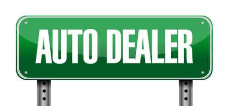 dealership: auto dealer landscape road sign concept illustration design graphic Illustration