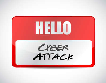 cyber attack: cyber attack name tag sign concept illustration design graphic Illustration