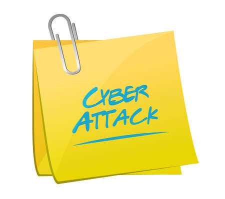 cyber attack: cyber attack memo post sign concept illustration design graphic Illustration