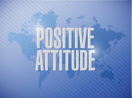 attitude: Positive attitude world map sign concept illustration design graphic Illustration