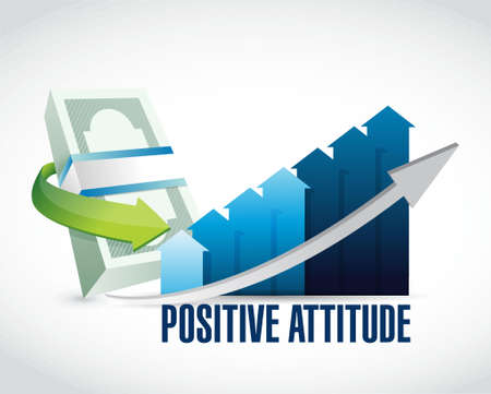 Positive attitude money graph sign concept illustration design graphic
