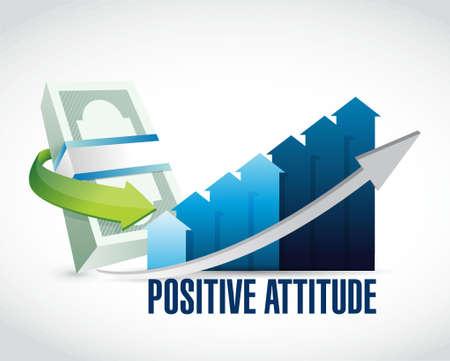 Positive attitude money graph sign concept illustration design graphic
