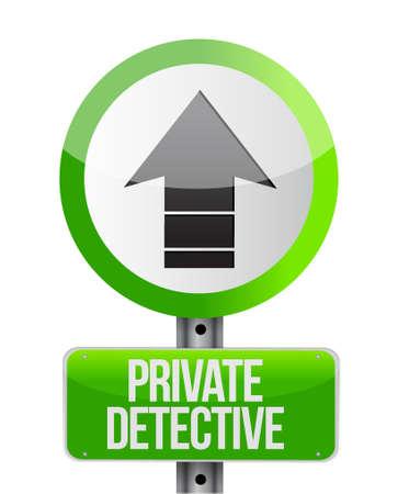 spotter: private detective road arrow sign concept illustration design graphic