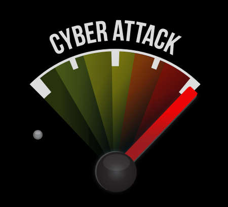 cyber attack: cyber attack meter sign concept illustration design graphic Illustration