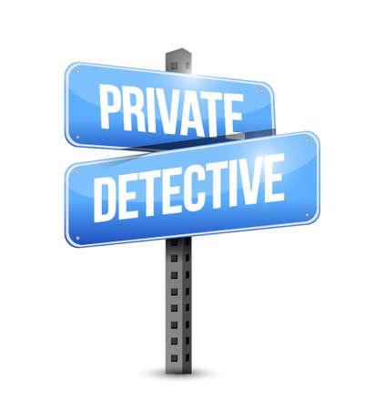 private detective blue road sign concept illustration design graphic