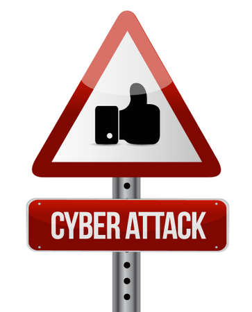 cyber attack: cyber attack attention sign concept illustration design graphic Illustration