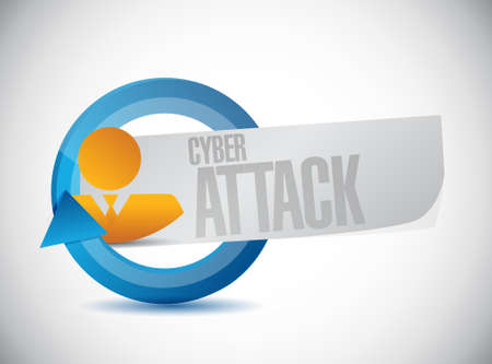 cyber attack: cyber attack business cycle sign concept illustration design graphic Illustration