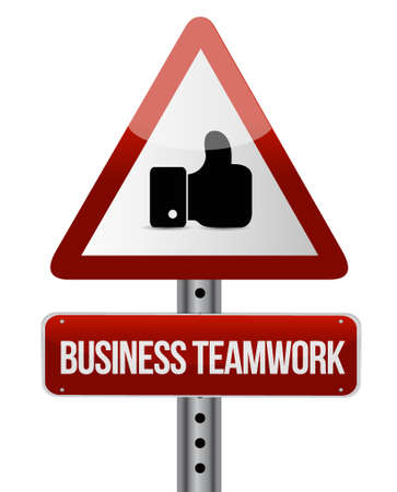 businessteam: business teamwork attention sign concept illustration design graphic