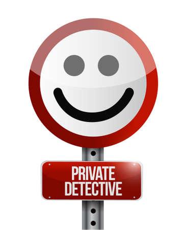 private detective street smile sign concept illustration design graphic