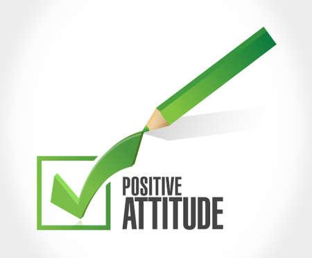 positive attitude: Positive attitude check mark sign concept illustration design graphic