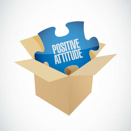 Positive attitude puzzle and box sign concept illustration design graphic